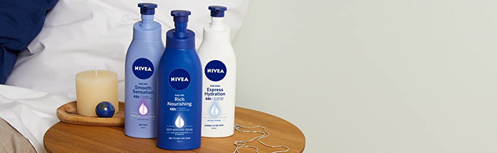 Lait huile hydratant crème nourrissant peau belle éclatante douce agréable NIVEA soin brille lisse