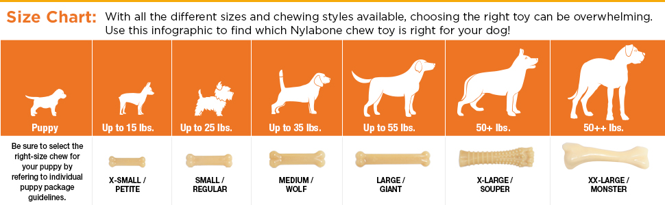 size chart for dog chew toys