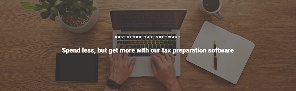 "Laptop on desk ""spend less, but get more with our tax preparation software"""
