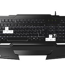 MARSGAMING MKHA1 - Teclado gaming para PC (respuesta ultra-rápida, iluminación LED blanca, anti-ghosting, teposamuñecas extraíbles, teclas elevadas y ...