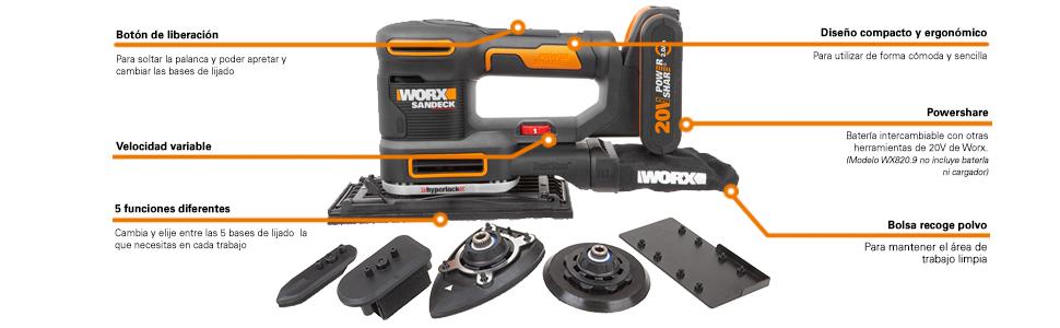 WORX WX820.9 - Multilijadora 5 en 1 20V S/bat