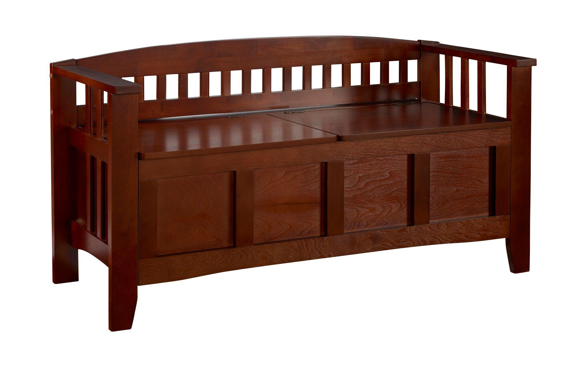 Linon Home Decor Storage Bench With Short Split Seat Storage Walnut