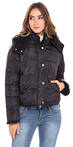 reversible puffer jacket sherpa insulated teddy removable hood