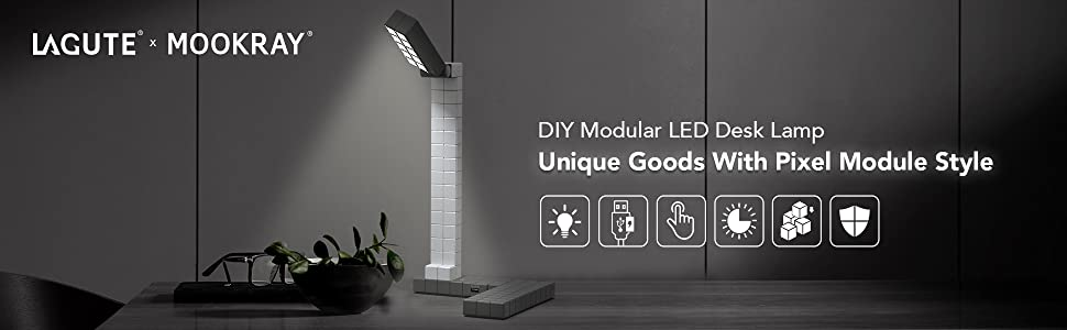 Black Lagute Hattera Modular Led Desk Lamp Gradual Dimmable Stem Learning Table Light W Diy Detachable Assembly Sensitive Touch Control And Usb Charging Port Eye Care Daylight With High Cri 80