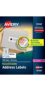 Avery Repositionable Labels