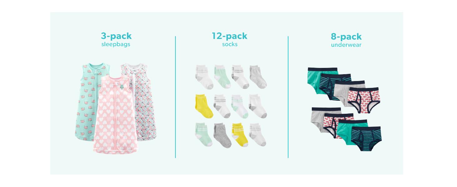 Navy//Stripes//Gray paquete de 4 6-9 Meses Simple Joys by Carters pantal/ón para beb/é