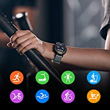 the watch keeps track of your real-time heart rate, calories and length of the workout.
