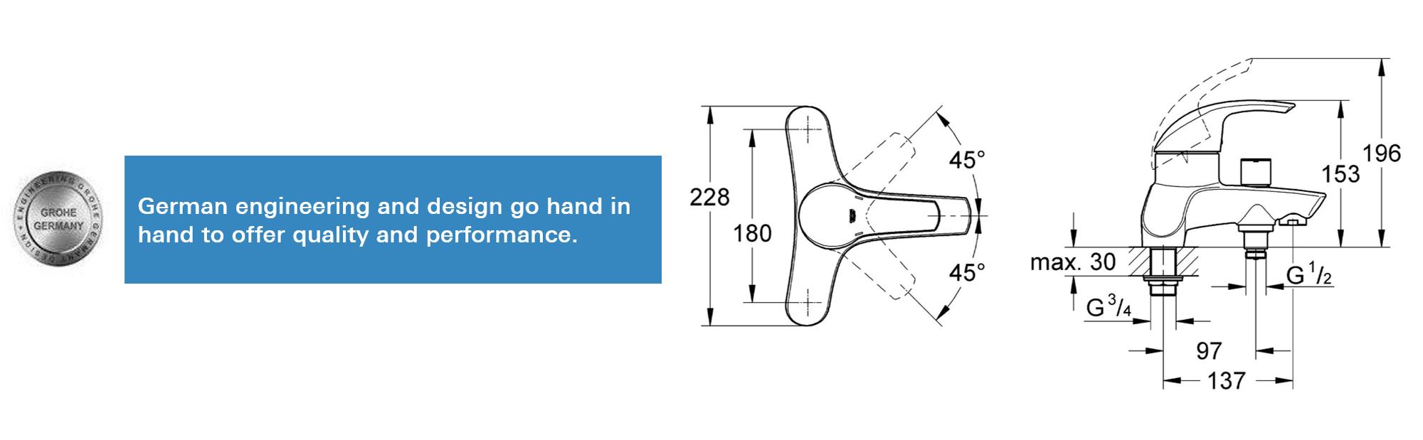GROHE Eurosmart single-lever bath tap, bath and shower mixer, wall ...