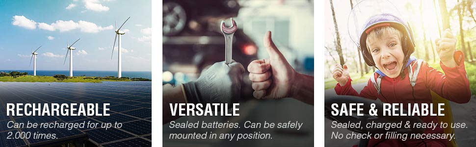 RECHARGEABLE VERSATILE SAFE AND RELIABLE POWERSPORT BATTERY