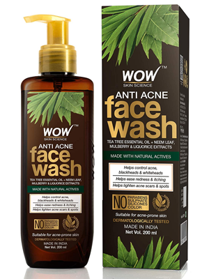 WOW Skin Science Anti Acne Face Wash - Oil Free - No Parabens, Sulphate, Silicones & Color
