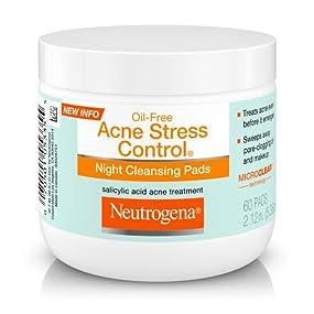 NEUTROGENA OIL-FREE ACNE STRESS CONTROL Night Cleansing Pads with Salicylic Acid