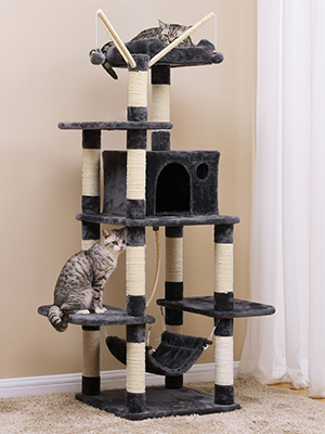 FEANDREA Árbol para Gatos, Rascador de Gatos, Color Antracita PCT86G: Amazon.es: Productos para mascotas