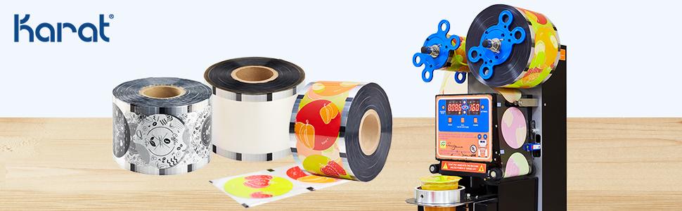 Karat sealing film,sealing film for cold drink,plastic seal film,PET sealing film,clear sealing film