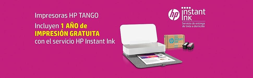 HP Tango X - Impresora (Imprime, Copia y Escanea desde el Móvil, Conectividad Wi-Fi, Incluye 12 meses de Impresión Gratis con HP Instant Ink) Color ...