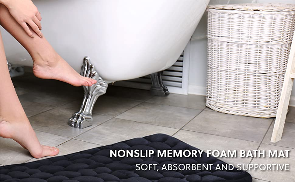 Nonskip Memory Foam Bath Mat - Soft, Absorbent, Supportive