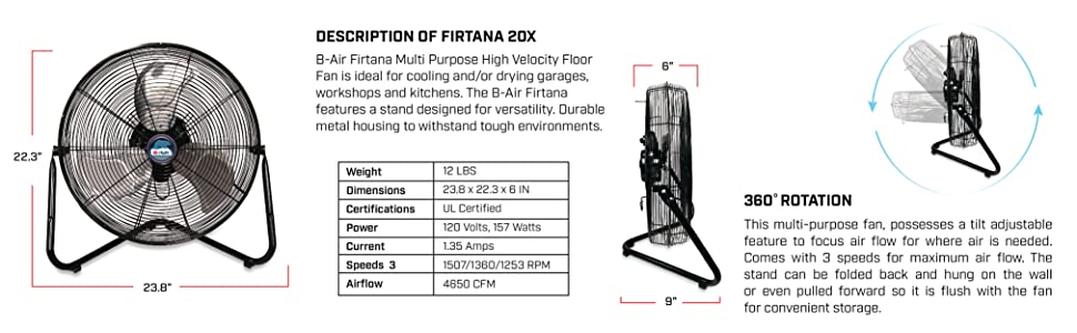 B-Air FIRTANA-20X High Velocity Electric Industrial and Home Floor Fan, 20