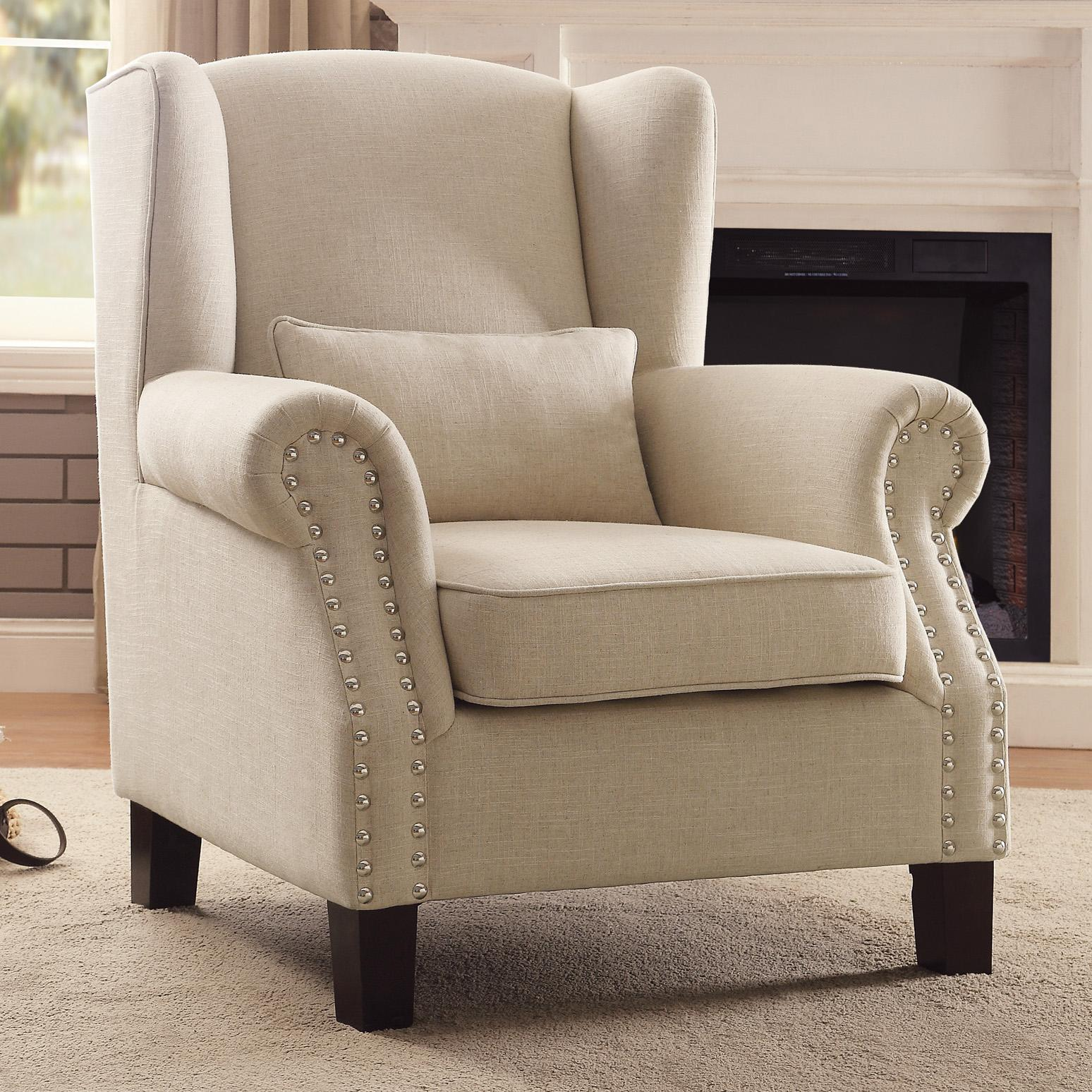 cream colored wingback chairs homelegance adelaide fabric upholstered 13594 | 931612de 26ca 4480 92e3 d35689a7c9bc