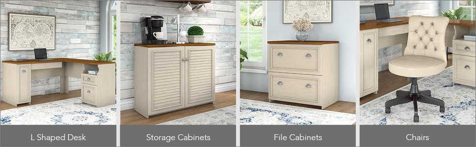 bush furniture,fairview,antique white,white,country cottage,bush,bush industries