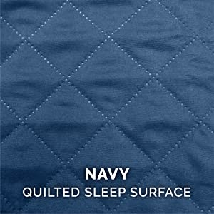 sleep; surface; quilted; stitching; polyester; navy; deep blue; sapphire