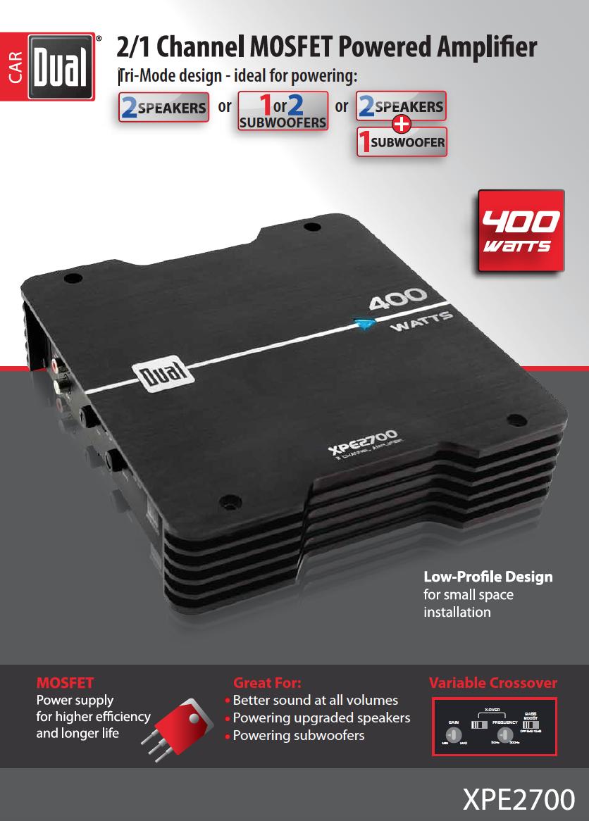 dual xpe2700 400 watt max 2 channel mosfet xpe series