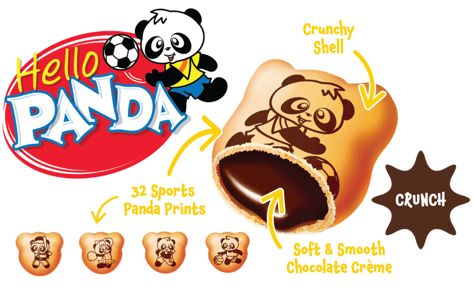 hello panda cookie with creme filling biscuit with chocolate cream yum yum snack for kids