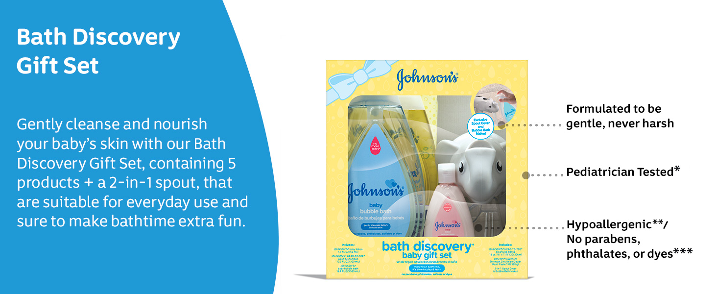 Gently cleanse and nourish your baby's skin with our Bath Discovery Gift Set