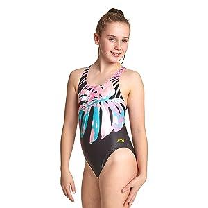 Zoggs Girls' Palms Rowleeback Swimsuit