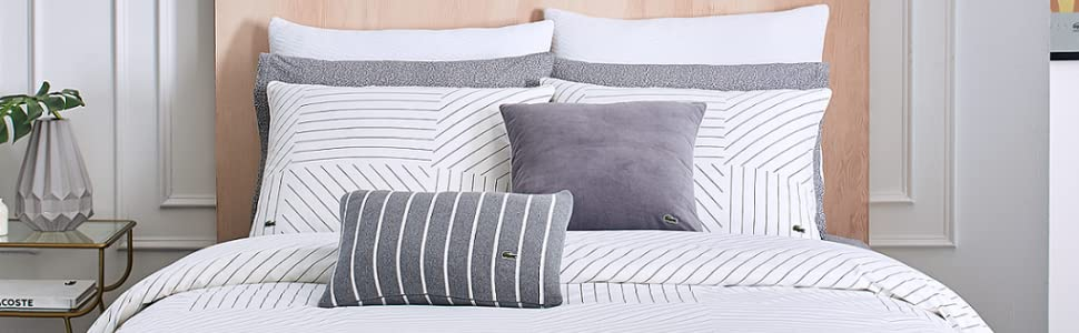 lacoste guethary gray white dark light stripes diagonal modern duvet comforter sham bed bedroom set
