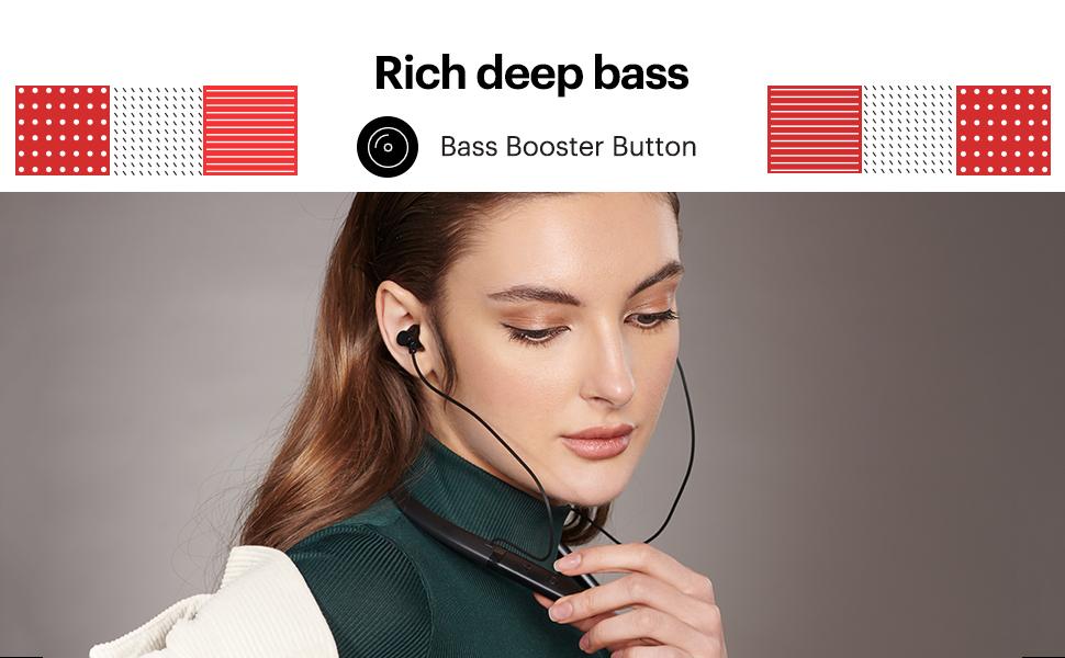 deep bass, bass booster button, rich bass, wireless earphones with mic and bass, bluetooth earphones
