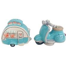 Retro Woody Stripe Camper /& Car Salt /& Pepper Set