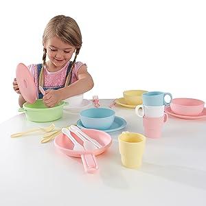 accessori per cucine giocattolo, accessori cucine per bambini, piatti giocattolo, ciotole giocattolo