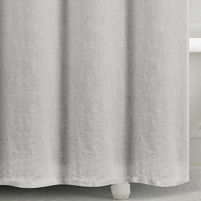 Washed Belgian Linen Shower Curtain Silver Grey