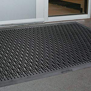 Black for Outdoor Entrances Slotted Wearwell Natural Rubber 224 UpFront Scraper Grease Resistant Mat 3 Width x 5 Length x 5//16 Thickness
