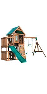 Elkhorn, WS 8357, swing set for kids, swing set with slide, wooden swing set, wooden play set