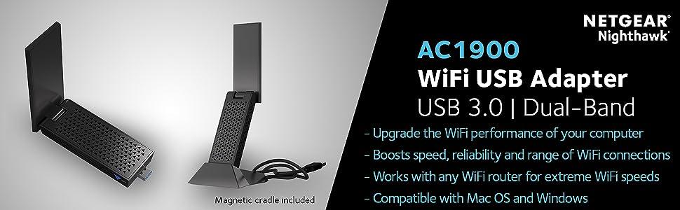 NETGEAR A7000-100PES Nighthawk AC1900 Wi-Fi USB Adapter (USB 3 0, Dual Band  Wi-Fi, Magnetic Cradle Included)