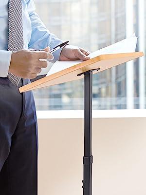 PLCTND44 Height Adjustable Steady Standing Design Teacher Speaker Lecture Classroom Presentation Stand Pyle Portable Floor Lectern Podium Stand Laptop Computer Book Holder w//Slanted Top Shelf Renewed