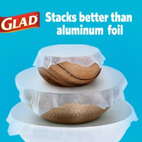 glad plastic food wrap;stretch tite;food storage;food containers;press and seal;heavy duty;clear
