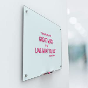 white frameless glass board, close up of glass dry erase board, wall mounted glass board