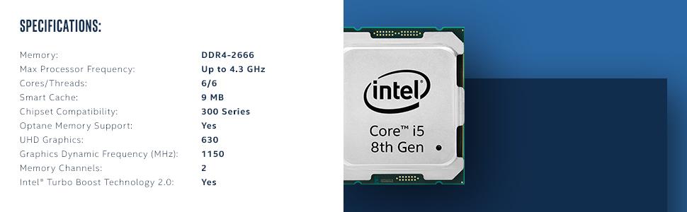 Intel® Core™ i5-8600 Desktop Processor 6 Core up to 4 3GHz Turbo LGA1151  300 Series 65W