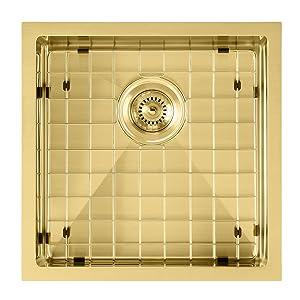 WHNPL1818, Brass, Sink, Kitchen, Stainless Steel, Noah Plus, Undermount, Drop-in, grid, drain