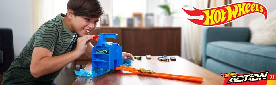 Lanzador de Hot Wheels con capacidad para seis coches de juguete a escala 1:64 para niños