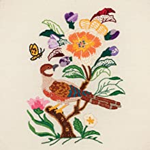 bird, butterfly, flowers, tree, embroidery, stitching, sewing