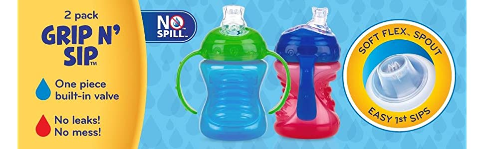 Nuby No-Spill Super Spout Grip N Sip 4M+ - 4 Count (ASSORTED COLORS)