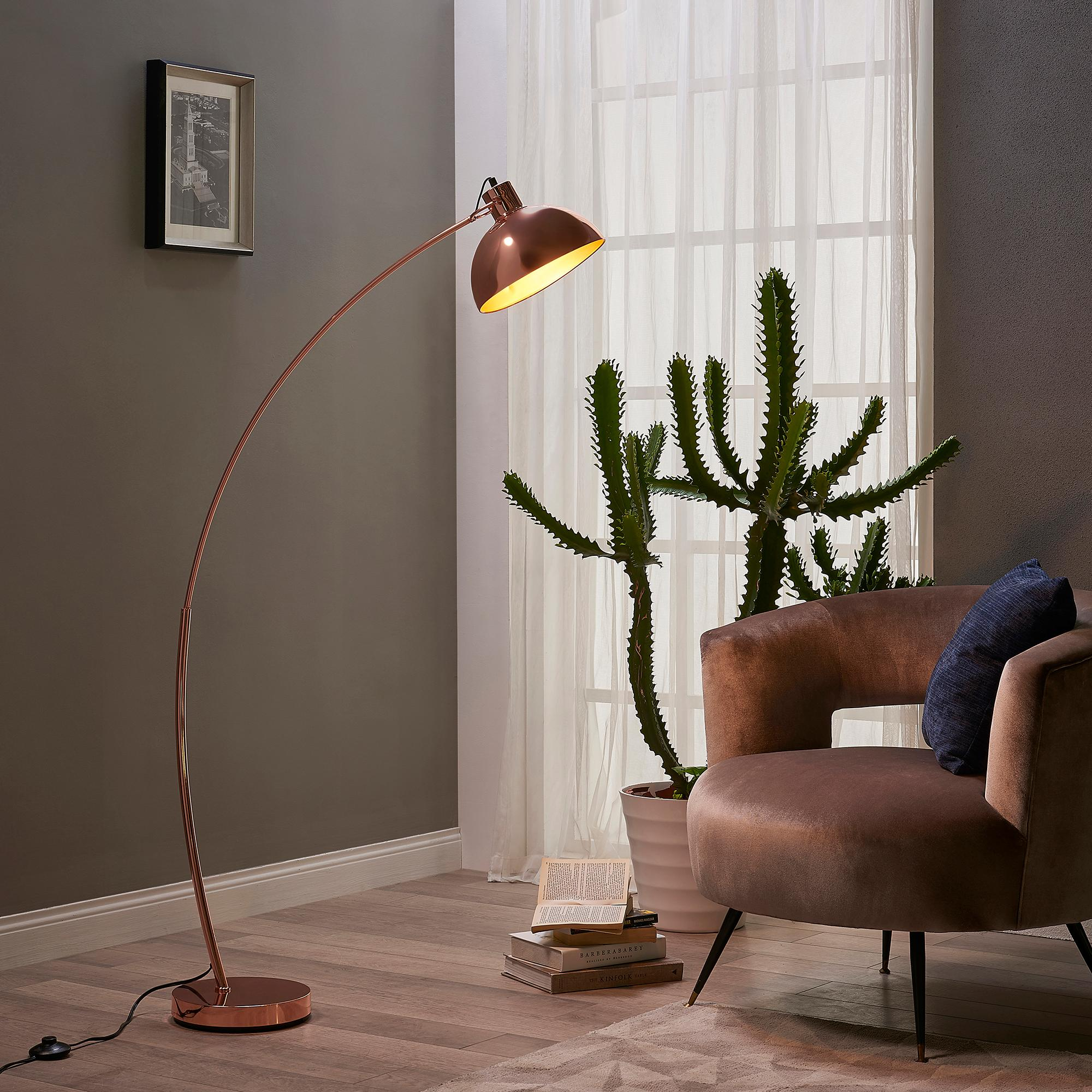 Versanora arco 160cm metal arc floor reading lamp with for Rose gold floor lamp uk