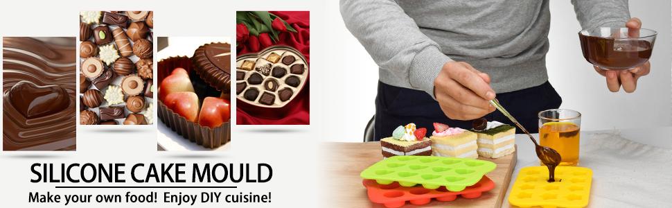 jab/ón YAMAZA Molde de Silicona para jab/ón gelatina Rectangular pud/ín Cocina hogar para Hornear Pasteles Cocina. Chocolate