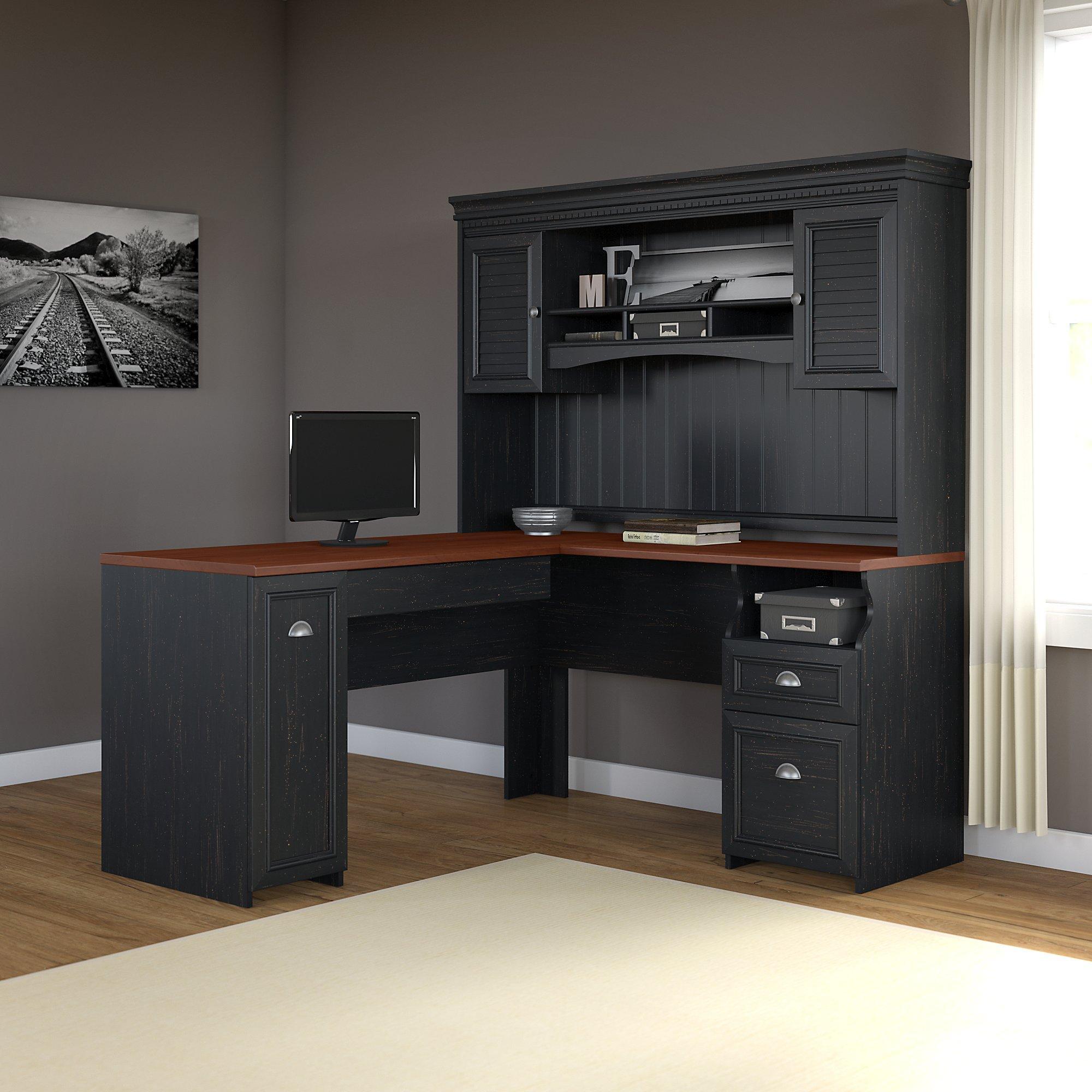 fairview l shaped desk with hutch in antique black kitchen dining. Black Bedroom Furniture Sets. Home Design Ideas