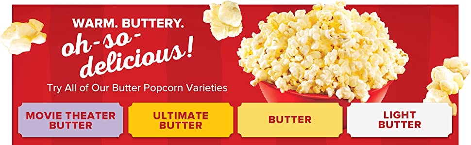 Try all of Orville Redenbacher's butter popcorn varieties