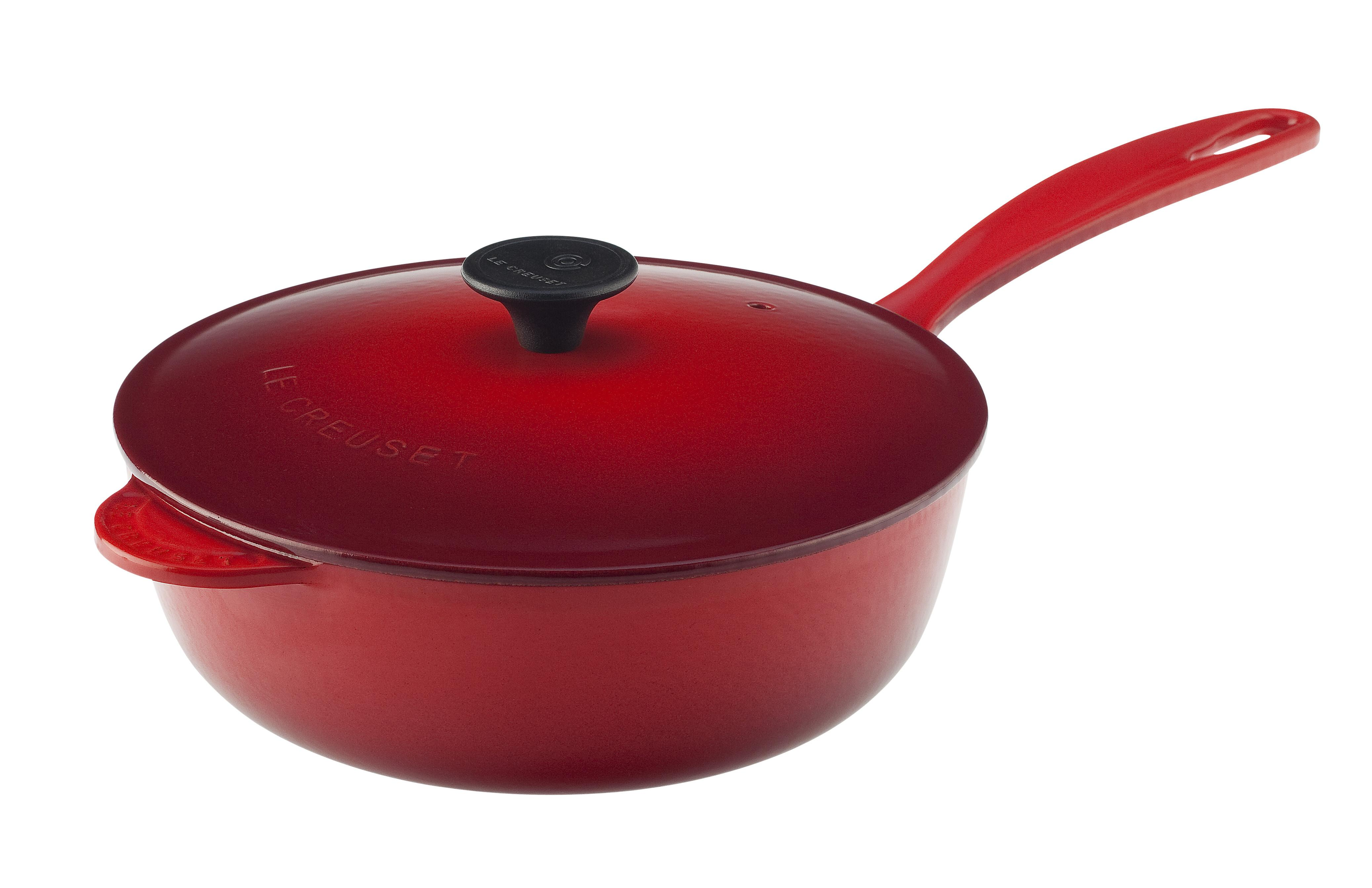 le creuset enameled cast iron 2 1 4 quart saucier pan cerise cherry red kitchen. Black Bedroom Furniture Sets. Home Design Ideas
