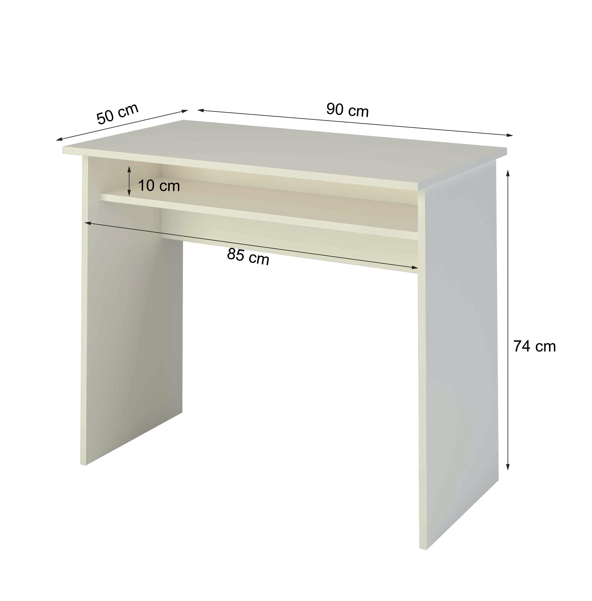 Samblo escritorio de melamina de 90 cm de ancho con balda for Medidas mesa escritorio