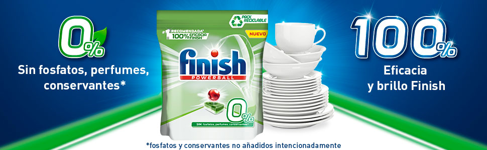 Finish Pastillas para Lavavajillas, Todo en 1, 0% - Pack de 60 ...
